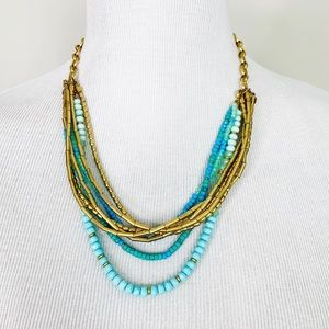 STELLA & DOT Layered Blue Gold Necklace Tassel